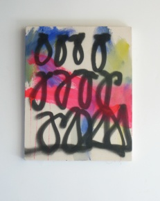 "Loops, 2013, acrylic and acrylic spraypaint on canvas, 20"" x 16"""