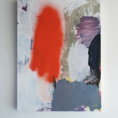 "Red spray, 2013, acrylic on canvas, 24"" x 20"""