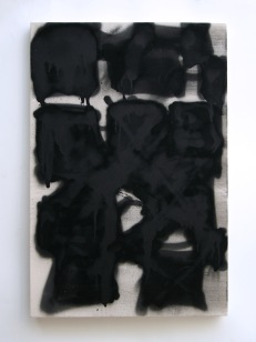 "Untitled, 2014, acrylic and acrylic spraypaint on canvas, 36"" x 24"""
