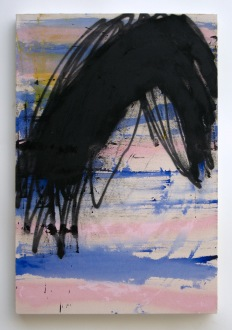 "Untitled, 2014, acrylic and acrylic spraypaint on canvas, 40"" x 30"""